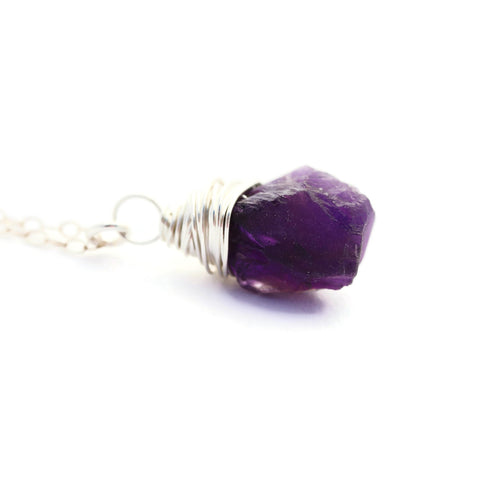 Raw Purple Amethyst Necklace Sterling Silver Chain - Sienna Grace Jewelry | Pretty Little Handcrafted Sparkles
