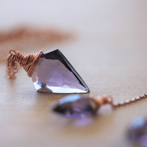 Arrowhead Amethyst Quartz Necklace and Earring Set in Rose Gold - Sienna Grace Jewelry | Pretty Little Handcrafted Sparkles