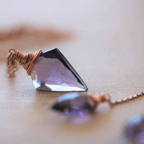 Arrowhead Amethyst Quartz Necklace and Earring Set in Rose Gold-Sienna Grace Jewelry