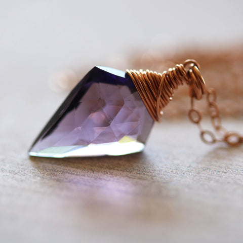 Arrowhead Amethyst Quartz Necklace in Rose Gold - Sienna Grace Jewelry
