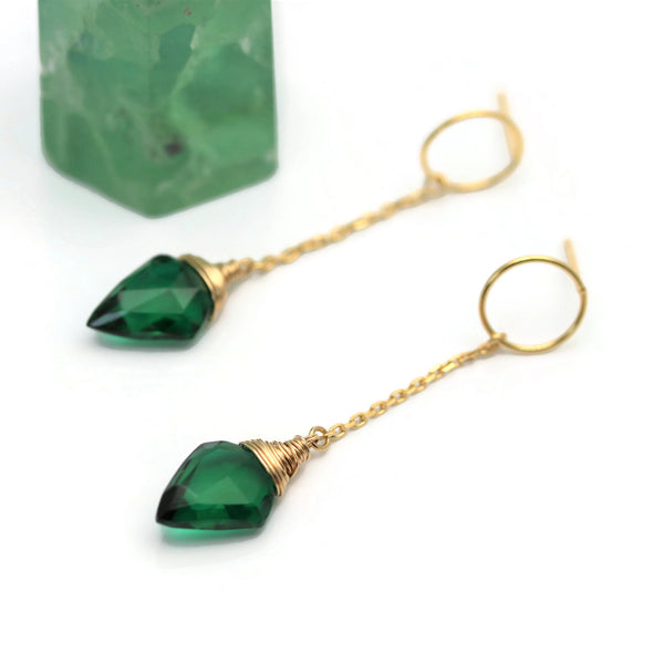 Green Quartz Earrings Gold Circle Post Chain  - Sienna Grace Jewelry