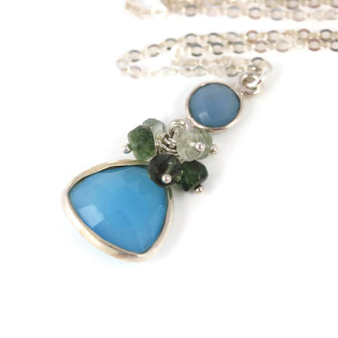 Blue Chalcedony with Tourmaline Sterling Silver Necklace - Sienna Grace Jewelry