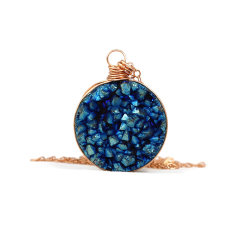 Blue Druzy Quartz Rose Gold Filled Necklace - Sienna Grace Jewelry