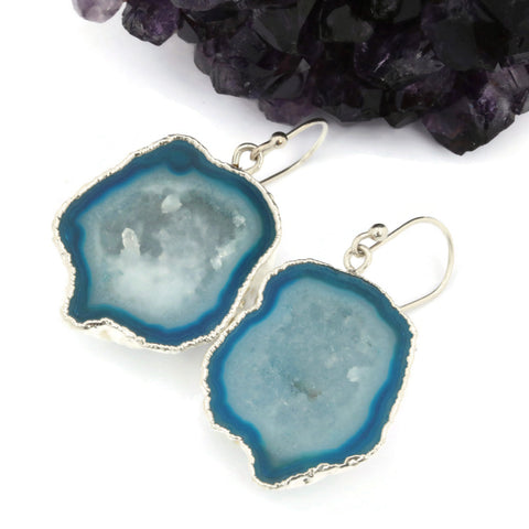 Light Blue Druzy Agate Geode Earrings Silver - Sienna Grace Jewelry