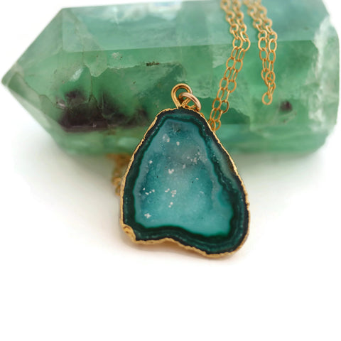 Natural Agate Geode Druzy Blue Green 14k Gold Filled Chain - Sienna Grace Jewelry | Pretty Little Handcrafted Sparkles