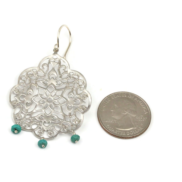 Silver Filigree Earrings With Turquoise Bohemian Style - Sienna Grace Jewelry