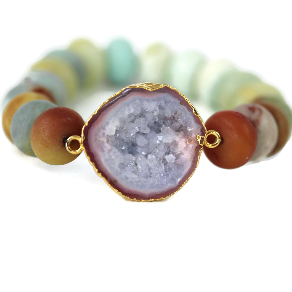 Geode Druzy Crystal Bracelet Amazonite 24 k Gold Electroplated - Sienna Grace Jewelry | Pretty Little Handcrafted Sparkles