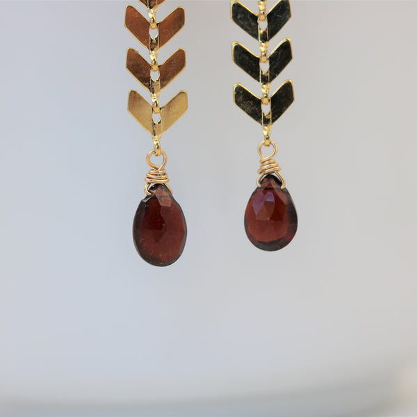 Chevron Earrings with Garnets Geometric Style - Sienna Grace Jewelry | Pretty Little Handcrafted Sparkles