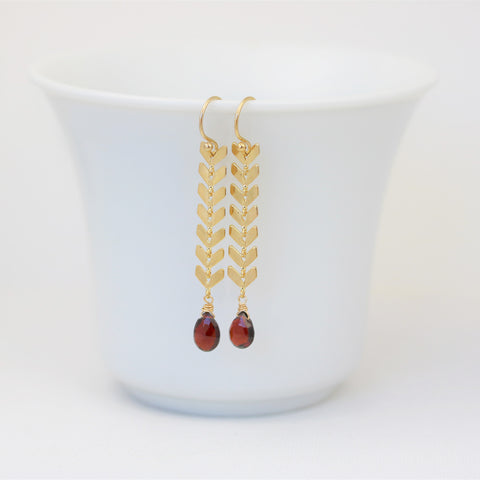Chevron Earrings Geometric Style with Garnets