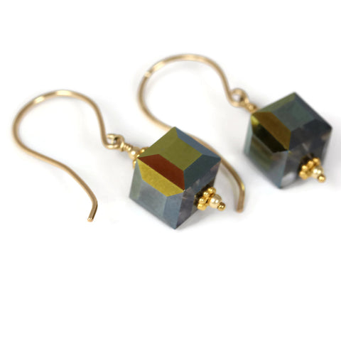 Vintage Swarovski Crystal Cube Earrings Hand Forged Ear Wires - Sienna Grace Jewelry | Pretty Little Handcrafted Sparkles