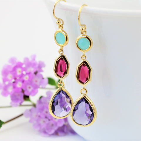 Gold Faceted Glass Statement Earrings Mint Red Purple
