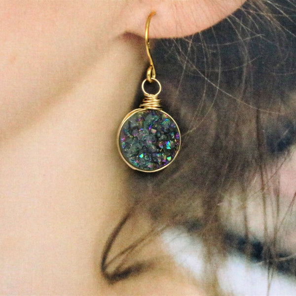 Rainbow Druzy Quartz Wire Wrapped Gold Filled Dangle Earrings - Sienna Grace Jewelry