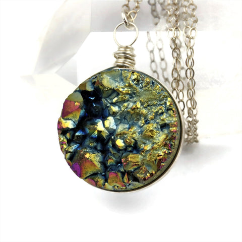Druzy Pendant Sterling Silver Wire Wrapped Necklace - Sienna Grace Jewelry | Pretty Little Handcrafted Sparkles
