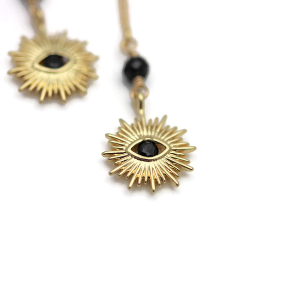 Evil Eye Gold Threader Style Earrings with Black Spinel - Sienna Grace Jewelry