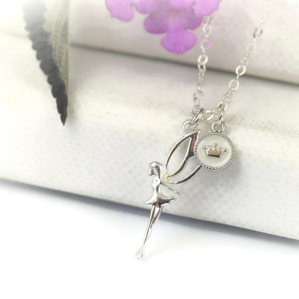 Fairy Princess with Crown Charm Sterling Silver Necklace - Sienna Grace Jewelry