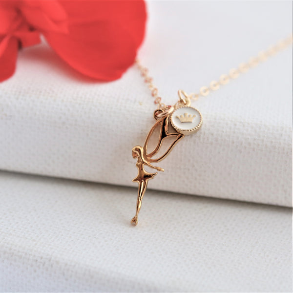 Fairy Princess with Crown Charm Gold Vermeil Necklace - Sienna Grace Jewelry