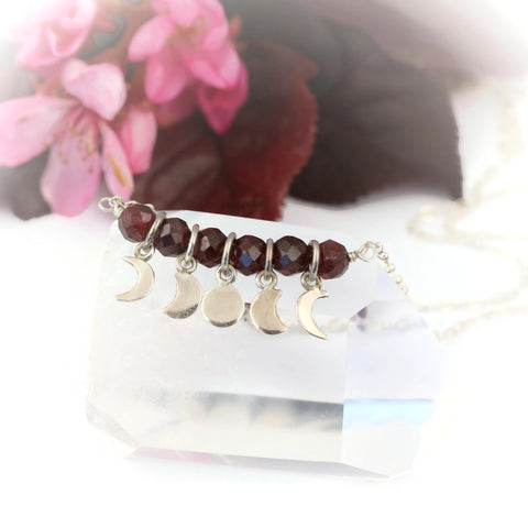 Red Garnet Moon Phases Necklace Sterling Silver