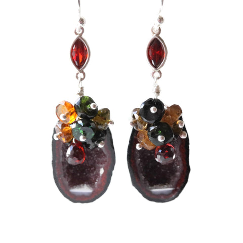 Geode Quartz Earrings Red and Dark Green Sterling Silver Gemstone Cluster - Sienna Grace Jewelry