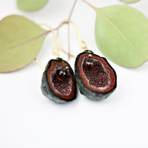 Tabasco Geode Quartz Earrings with Garnets Boho Style