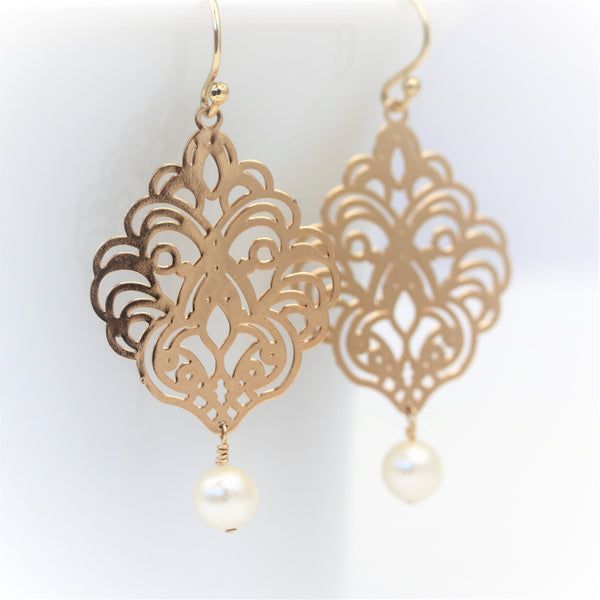 Gold Filigree Earrings with Pearl Dangle - Sienna Grace Jewelry