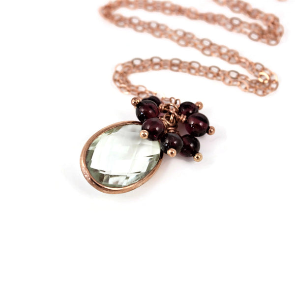 Green Amethyst Red Garnets Rose Gold Necklace - Sienna Grace Jewelry