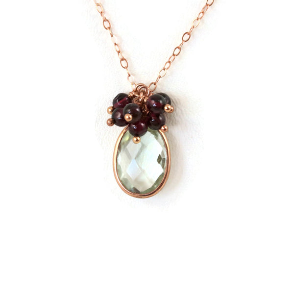 Green Amethyst Red Garnets Rose Gold Necklace