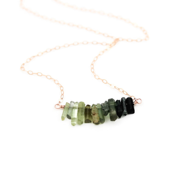 Green Tourmaline Ombre' Bar Style Rose Gold Necklace