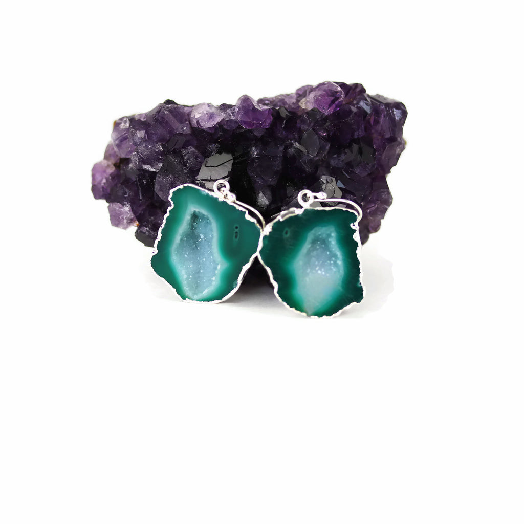 Green Natural Geode Druzy Silver Electroplated Earrings - Sienna Grace Jewelry