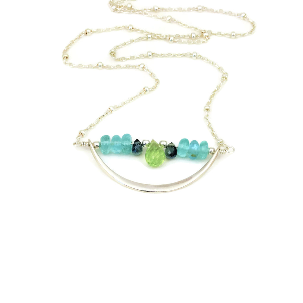 Sterling Silver Crescent Necklace Peridot, Apatite, and Sapphires - Sienna Grace Jewelry