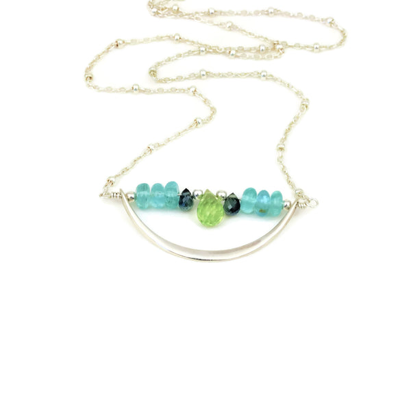 Sterling Silver Crescent Necklace Peridot, Apatite, and Sapphires - Sienna Grace Jewelry | Pretty Little Handcrafted Sparkles