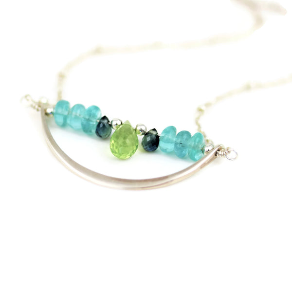 Sterling Silver Crescent Necklace Peridot, Apatite, and Sapphires