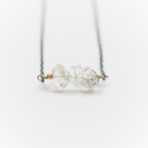 Herkimer Diamond Quartz Bar Style Necklace Modern Minimalist - Sienna Grace Jewelry | Pretty Little Handcrafted Sparkles