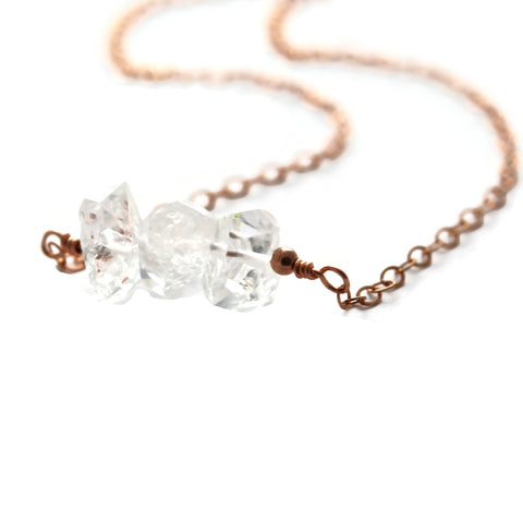 Herkimer Diamond Rose Gold Filled Layering Necklace - Sienna Grace Jewelry | Pretty Little Handcrafted Sparkles