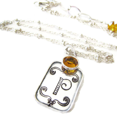 Hand Stamped Initial Necklace with Crystal Birthstone Pendant