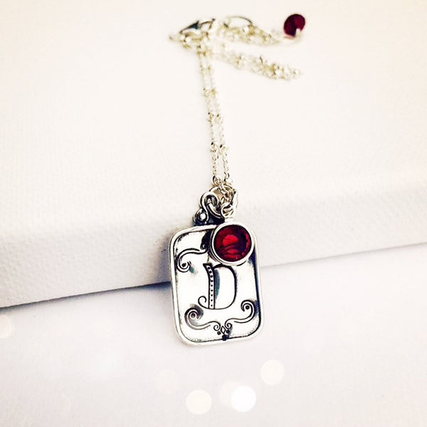 Hand Stamped Initial Necklace with Crystal Birthstone Pendant - Sienna Grace Jewelry | Pretty Little Handcrafted Sparkles