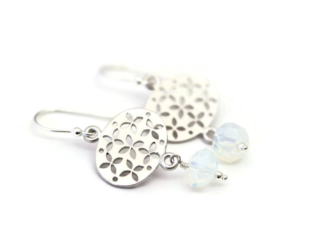 As Seen On Jane The Virgin Sterling Silver Opalite Dangle Drop Earrings - Sienna Grace Jewelry | Pretty Little Handcrafted Sparkles