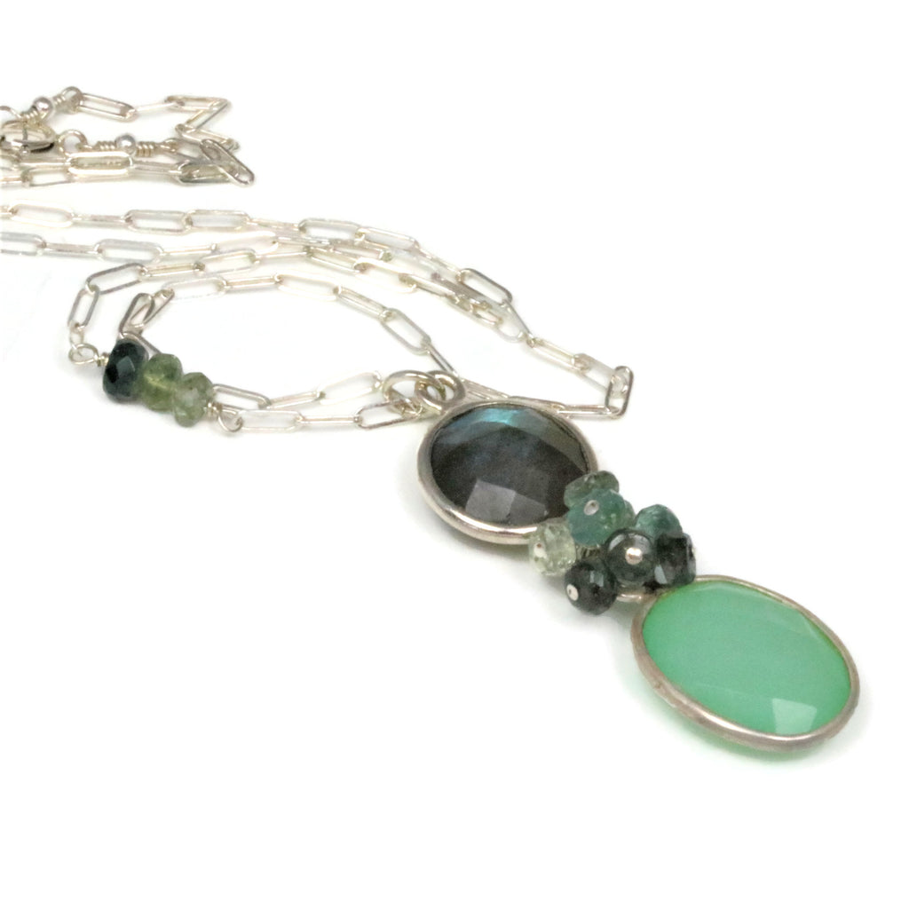 Labradorite and Chalcedony Sterling Silver Necklace - Sienna Grace Jewelry