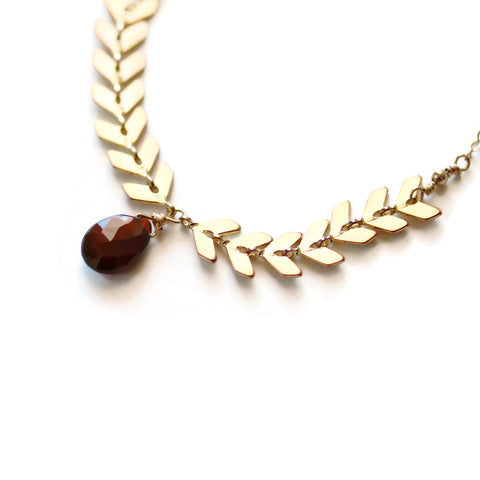 Chevron Necklace Gold Geometric Style with Garnet