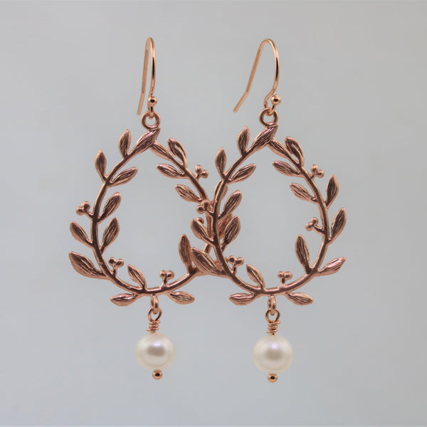 Rose Gold Laurel Leaf Earrings - Sienna Grace Jewelry | Pretty Little Handcrafted Sparkles