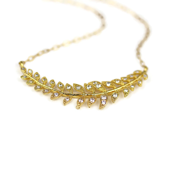 Gold Laurel Leaves Necklace Minimalist Layering Bridal Jewelry - Sienna Grace Jewelry