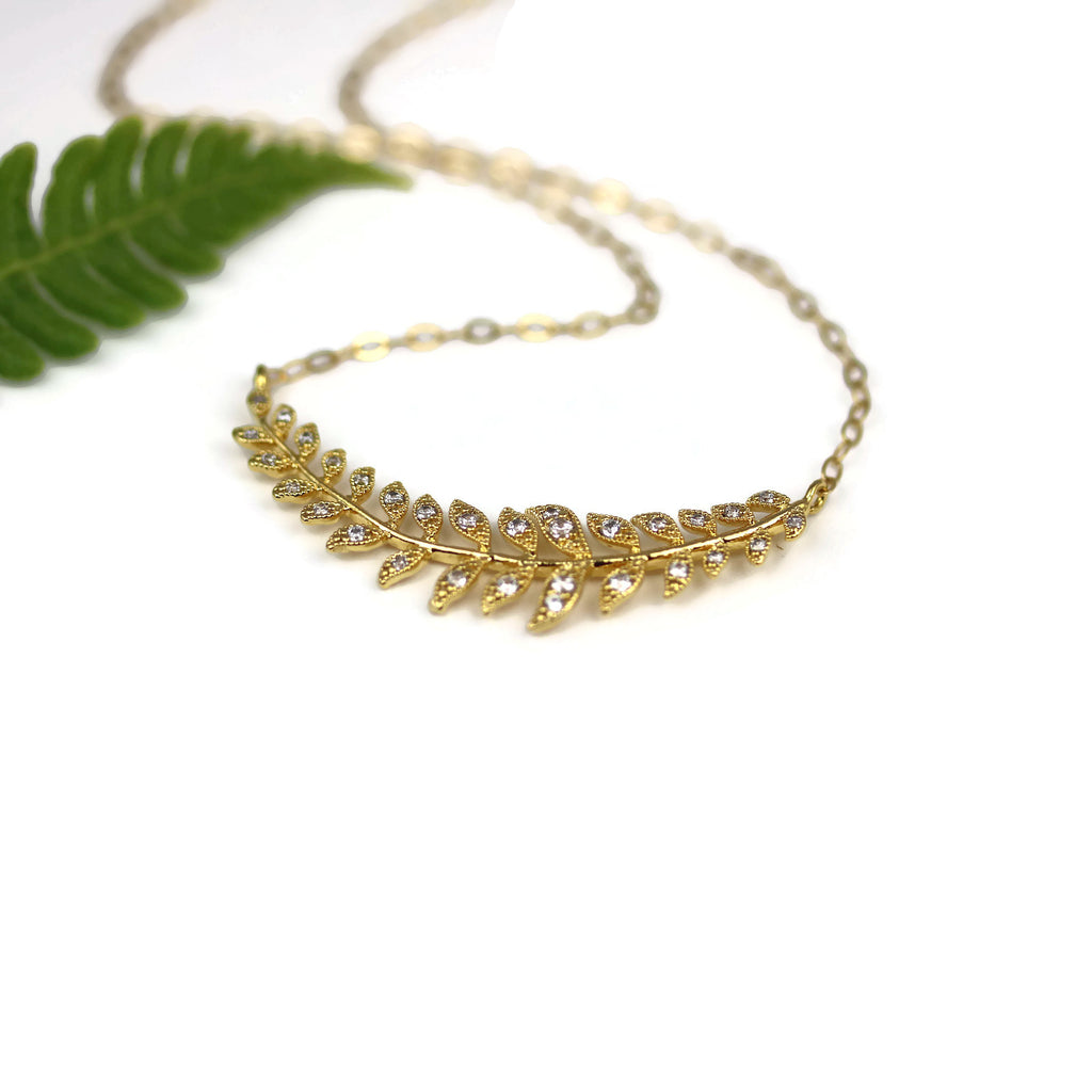 Gold Laurel Leaves Necklace Minimalist Layering Bridal Jewelry - Sienna Grace Jewelry | Pretty Little Handcrafted Sparkles