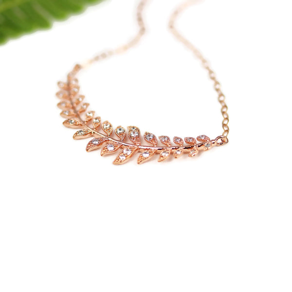 Laurel Leaf Necklace in Rose Gold for Brides and Bridesmaids - Sienna Grace Jewelry | Pretty Little Handcrafted Sparkles