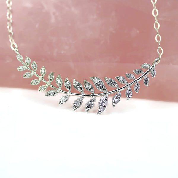 Silver Laurel Leaf Necklace Minimalist Bridal Jewelry