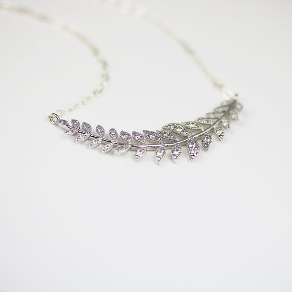 Silver Laurel Leaf Necklace Minimalist Bridal Jewelry - Sienna Grace Jewelry