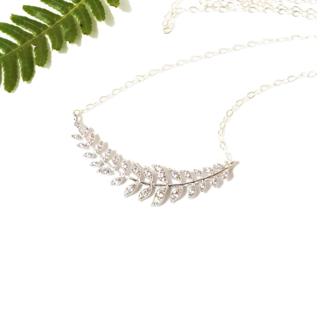 Silver Laurel Leaf Necklace Minimalist Bridal Jewelry - Sienna Grace Jewelry | Pretty Little Handcrafted Sparkles