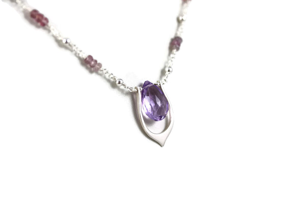 Purple Amethyst Sterling Silver Lotus Leaf Necklace - Sienna Grace Jewelry | Pretty Little Handcrafted Sparkles