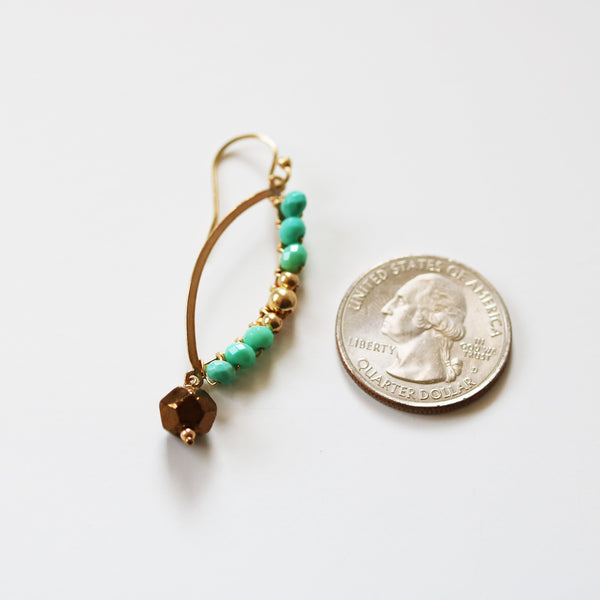 Turquoise and Gold Marquise Shaped Earrings As Seen On CBS' Mom - Sienna Grace Jewelry
