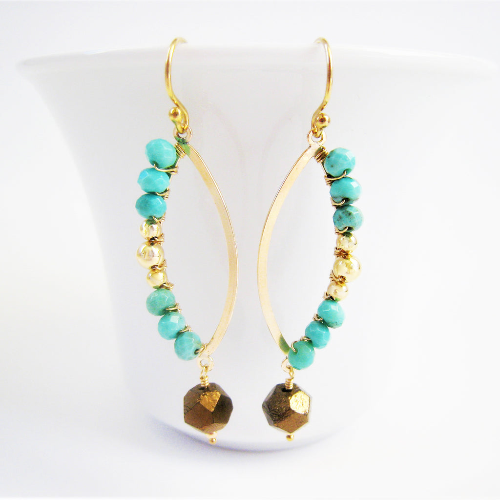 Turquoise and Gold Marquise Shaped Earrings As Seen On CBS' Mom