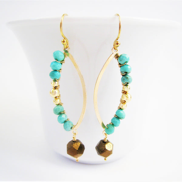 Turquoise and Gold Marquise Shaped Earrings As Seen On CBS' Mom - Sienna Grace Jewelry | Pretty Little Handcrafted Sparkles