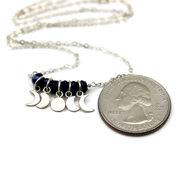 Moon Phases Necklace Lapis Lazuli Sterling Silver - Sienna Grace Jewelry